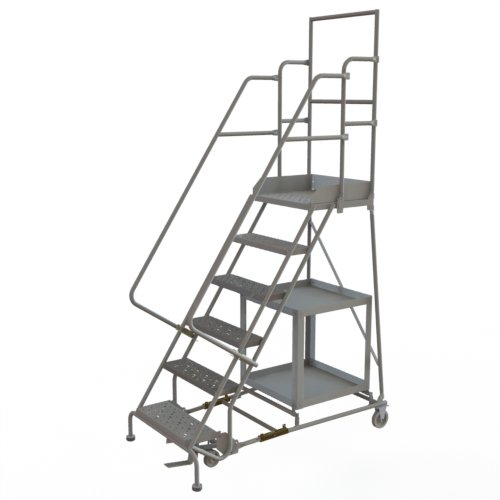 Tri-Arc KDSP106242 6-Step Stock Picking Industrial & Warehouse Steel Rolling Ladder with Grip Strut Tread