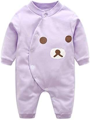 Baby Boys Girls Milk Bottle Print Long Sleeve Crochet Romper Bodysuit