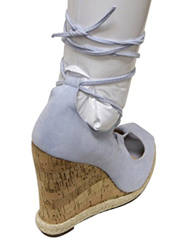 Chase & Chloe Tammy-2 womens peep toe cork wedge gilly tie wrap suede sandals Light Blue tJvmRYW