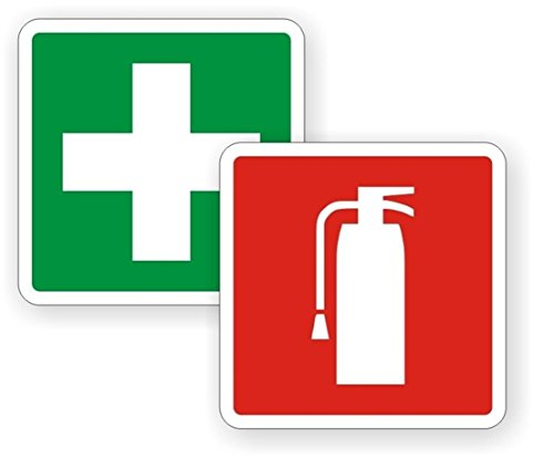 2 PC Supreme Popular Fire Extinguisher First Aid Car Sticker Sign Security Van RV Window Permit Self-Adhesive Size 2