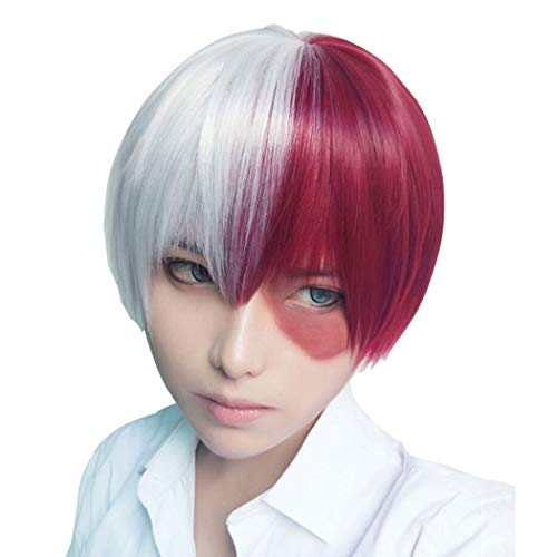 Tsnomore Short Straight Anime Cosplay Costume Halloween Unisex Wig short wigs for women (sliver white &red) ()