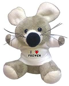 Llavero de ratoncito de peluche con Amo Frewen en la camiseta (nombre de pila/apellido/apodo)