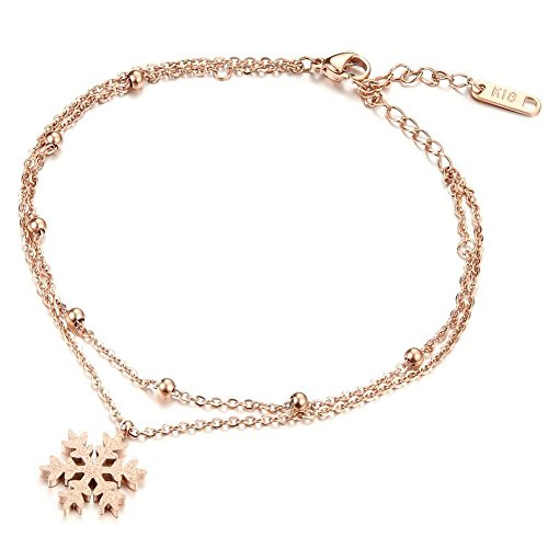 Wonvin アンクレットレディ?ス 2 연 체인 스노우 플라워 스테인레스 핑크 골드 18k 금도금 다리 장식품 / Wonvin Anklet Ladies 2-chain Chain Snow Flower Stainless Steel Pink Gold 18k Gold Plated Ankle Decoration