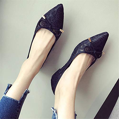 EU and maternity lace bow Spring shoes openwork flat shoes work shoes sweet mouth FLYRCX summer shallow 39 pointed mesh sandals single Rw5vqOFq