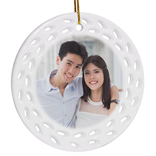 RitzPix Customizable Porcelain Ornament With Hanging String – Perfect Personalized Gift with Custom Image or Text – Choose Round, Doily or (Homemade Halloween Gift Basket Ideas)