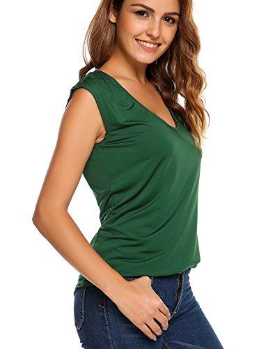 COSBEAUTY Women's Loose Casual Deep V-Neck cap sleeve Circular Arc Hem Elastic Pullover T Shirts, Teal, - T-shirt V-neck Cap Sleeve