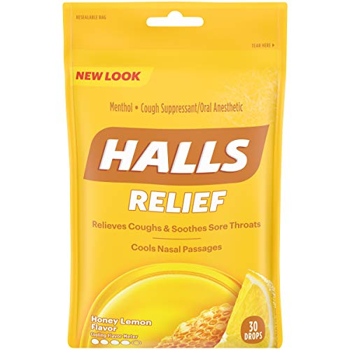 HALLS Cough Drops, Honey-Lemon, 30 Count