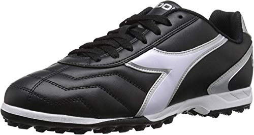 Diadora Unisex Capitano TF Turf Soccer Shoes (11.5, Black/White/Silver)