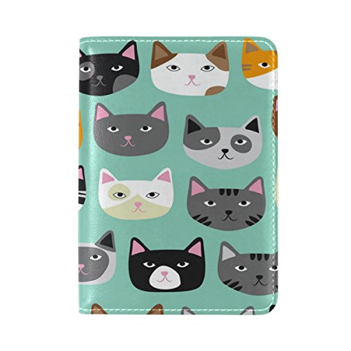ALAZA Funny Cat Kitten Leather Passport Holder Cover Case Travel One Pocket