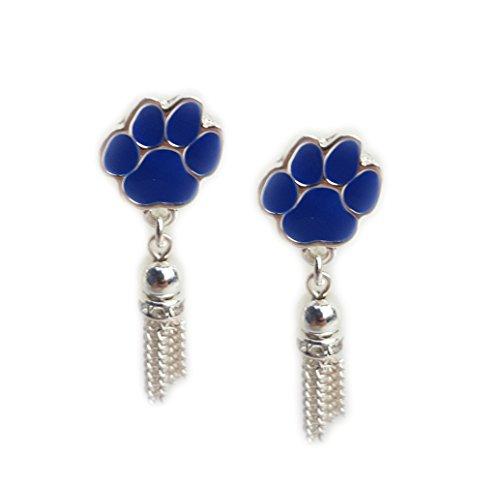 NCAA Kentucky Wildcats Women's Wildcats Paw Tassel Earrings, One Size, Silver - Ep Womens Ring