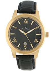 Lucien Piccard Mens LP-10046-YG-01  Black Textured Dial Black Leather Watch