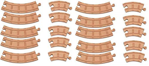 Thomas Wooden Small and Large Curved Track (20 Pieces) Train Track Pack Loose