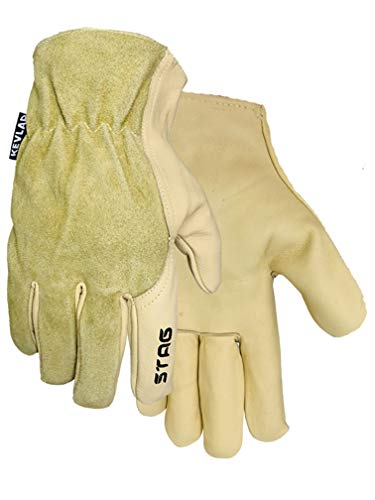 Golden Stag Work Glove Heavy Duty Wing Thumb Kevlar Cowhide Glove, Large, 232 (Golden Stag Gloves)