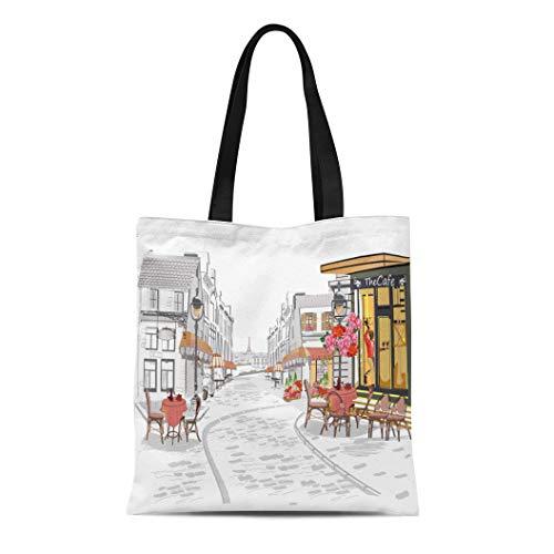 Semtomn Canvas Tote Bag Shoulder Bags Black Cafe Series of Street Views in the Old Women's Handle Shoulder Tote Shopper Handbag ()