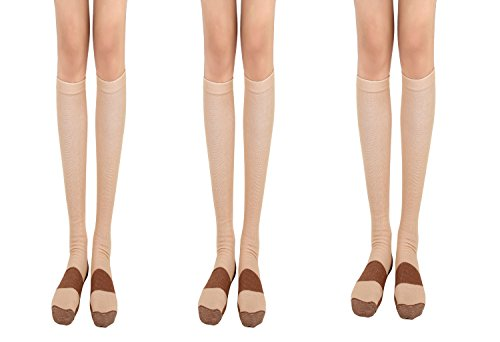 Copper Compression Socks 20-30mmHg Graduated Men Women (3 Pairs) BLK White Nude (Beige, S/M)