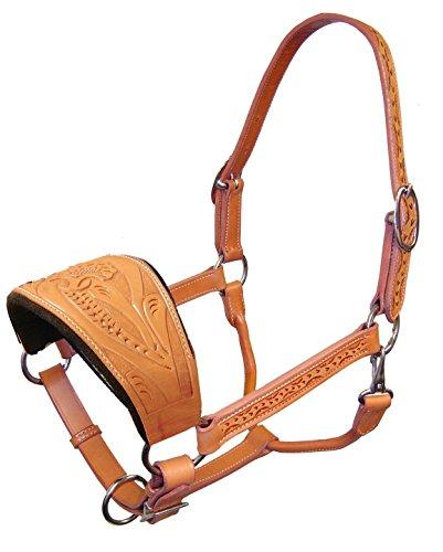 er Floral Tooled Bronc Halter Full Size Horse London Tan (Tooled Tack)