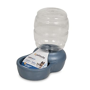 Petmate Replenish Pet Waterer with Microban, 1/2-Gallon, Pearl Peacock Blue