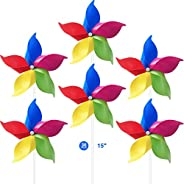 Tsocent 5 Colors Mixed Pinwheels (Pack of 36) - Party Favors Plastic Toy Pinwheels Educational Wind Spinners 3
