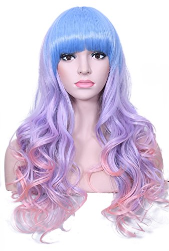 Deifor Long Full Wigs Curly Wave Heat Resistant Multi-color Hair Harajuku Style Cosplay Halloween Wigs(Light Blue/Purple/Pink) by Deifor