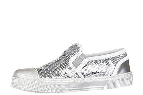 Hogan Rebel Sneakers Kinder Schuhe Mädchen Leder Turnschuhe r289 slip on Silber