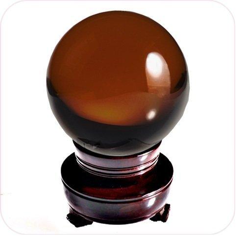 Orange Sphere (New Burnt Orange Crystal Ball Sphere Asian Quartz 80mm (3