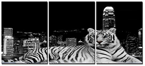 Natural art – Modern Giclee Black and White Artwork Canvas Prints 3 Panels Tiger with City Animals Pictures to Photo Paintings on Canvas Wall Art for Home Decorations