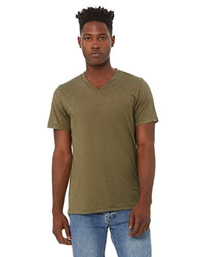 Bella + Canvas - Unisex Triblend Short Sleeve V-Neck Tee - 3415 - M - Olive Triblend (Label Sleeve Black T-shirt Short)