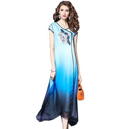 Cotylédons Women`s Robes Amples Broderie Manches Courtes Robe Longue Bleu Clair