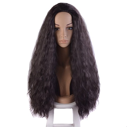 Long Black Curly Wigs (COSIN 27.5 Inches Long Curly Wigs for Black Women Kinky Synthetic Wig for Cosplay or Daily Use Hairnet Included (Dark Brown))
