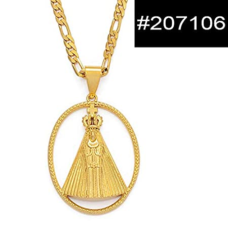 Model A,45cm by 3mm Chain Metal Color Lady of Aparecida Pendant Necklaces Mary Chain Necklaces Brazilian #207006