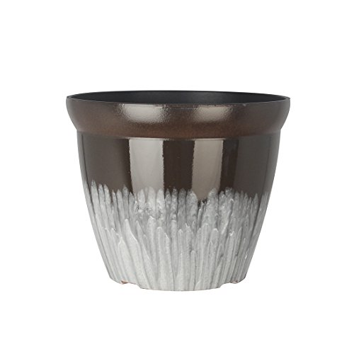 FANTASTIC :) 11-INCH Round Drum Shape Shinny Finish Decorative Plastic Planters Flower Pot-(1-Pack, MixGlaze - Planters Plastic Decorative