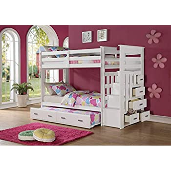 Amazon Com Acme Furniture Over Twin Bunk Bed Ladder Trundle
