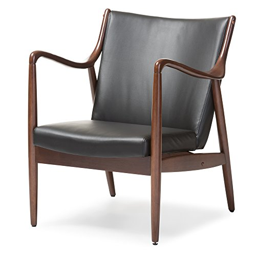(Baxton Studio Shakespeare Mid-Century Modern Retro Faux Leather Upholstered Walnut Wood Frame Leisure Accent Chair, Medium, Black)
