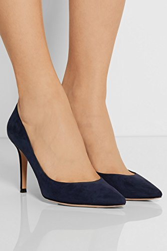 Bleu A Des Quotidiennement Pointues Femmes Ubeauty Taille High Heels Grande Toe Escarpins Chaussures Enfiler RzUOnqO58