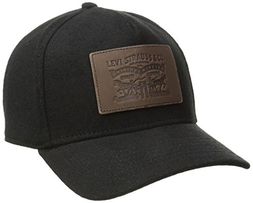 (Levi's Men's Solid Melton Baseball Cap with Signature Leather Horse, Black, One Size)