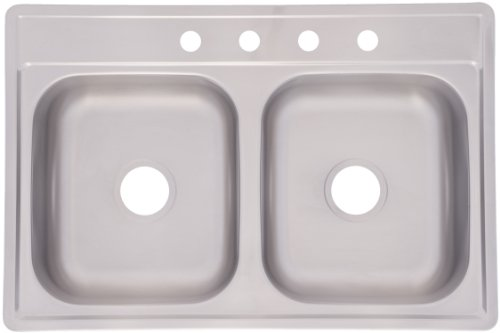 Kindred FDS604NB Double Bowl Stainless Steel Topmount Sink, 33-Inch by 22-Inch