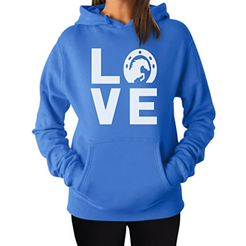 TeeStars - Love Horses - Animal Lover Rearing Horse - Horseshoe Women Hoodie Small California Blue