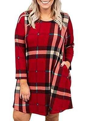 Plus Size Womens Buffalo Plaid Dresses Christmas Long Sleeve Tunic Shirt Dress