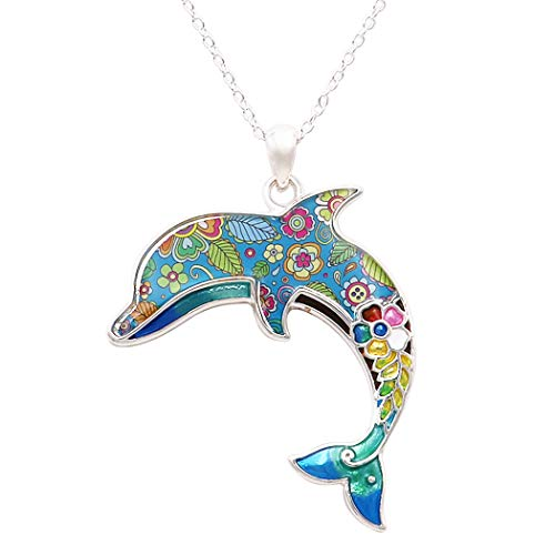 Collection Pendant Mosaic - Rosemarie Collections Women's Colorful Mosaic Enamel Dolphin Pendant Necklace