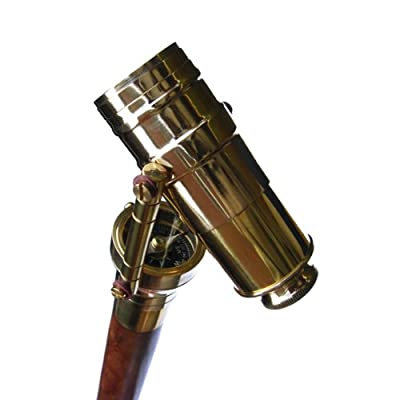Telescope Cane Walking Stick with Compass Brass Spyglass Cane