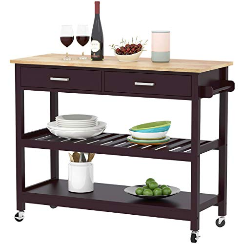 (Clevr Rolling Kitchen Cart Island on Wheels Trolley, Cabinet w/Drawer, Shelves Storage Shelf, 100% Natural Rubberwood Top, Walnut Colored)