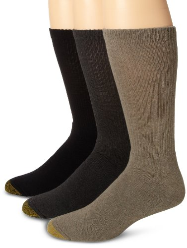 Gold Toe Men's Uptown Crew Three-Pack, Olive/grey/black, Sock Size 10-13/Shoe Size 6-12.5