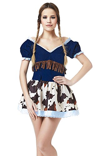 Working Hard Costume Lady (Adult Women Cowgirl Costume Texas Cosplay & Role Play Wild West Rodeo Dress Up (X-Small/Small, Navy Blue, Brown, Beige,)