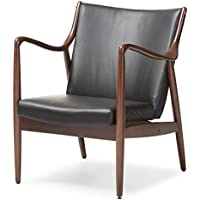 Baxton Studio Shakespeare Mid-Century Modern Retro Faux Leather Upholstered Walnut Wood Frame Leisure Accent Chair, Medium, Black