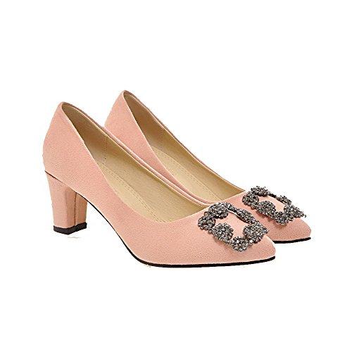 AgooLar Damen Mittler Absatz Rein Ziehen auf Mattglasbirne Spitz Zehe Pumps Schuhe Pink