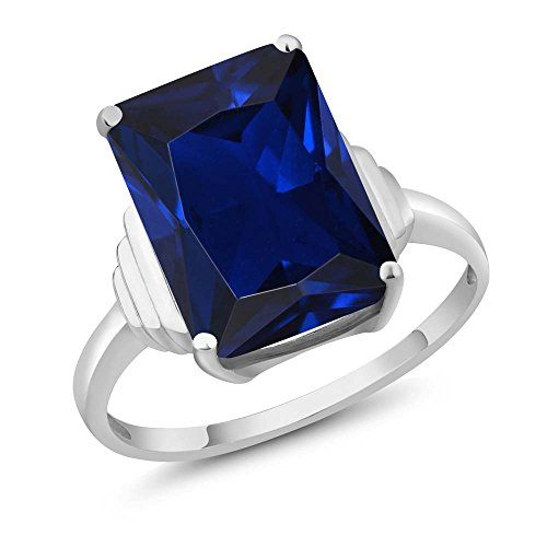 1000-Ct-Emerald-Cut-Blue-Simulated-Sapphire-925-Sterling-Silver-Womens-Ring-Available-56789