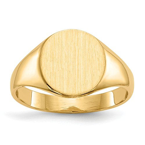 Roy Rose Jewelry 14K Yellow Gold Solid Back Mens Womens Signet Ring Custom Personailzed with Free Engraving Available Initial or Monogram ~ Size (Mens Solid Back Signet Ring)