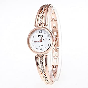 XKC-watches Relojes de Mujer, Mujer Reloj Pulsera Chino Cuarzo La imitación de Diamante Reloj Casual Aleación Banda Moda Dorado (Color : Oro): Amazon.es: ...