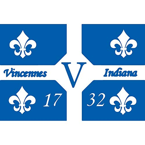 ANGDEST Flag of Vincennes Indiana (Azure Blue) (Set of 2) Premium Waterproof Vinyl Decal Stickers for Laptop Phone Accessory Helmet Car Window Bumper Mug Tuber Cup Door Wall Decoration