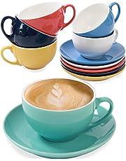 Set van 6 Cappuccino kopjes met schotels - Kleurrijk Keramiek - Geschenkverpakking - Houdt Warm - 180ml